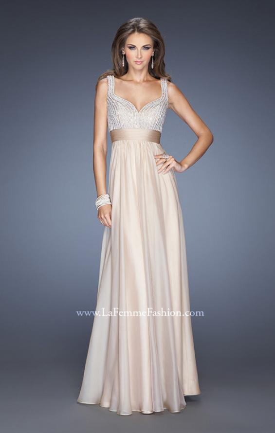 Picture of: Long Prom Gown with Chiffon Skirt and Gathered Waist in Nude, Style: 20203, Detail Picture 1