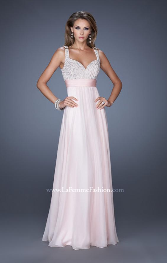 Picture of: Long Prom Gown with Chiffon Skirt and Gathered Waist in Pink, Style: 20203, Detail Picture 2