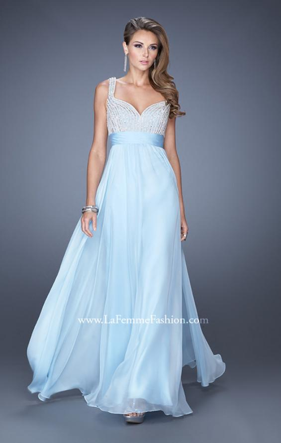 Picture of: Long Prom Gown with Chiffon Skirt and Gathered Waist in Blue, Style: 20203, Detail Picture 3