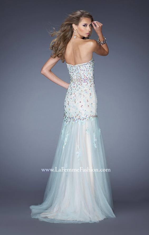 Picture of: Strapless Jeweled Prom Dress with Colored Tulle Overlay, Style: 20220, Back Picture