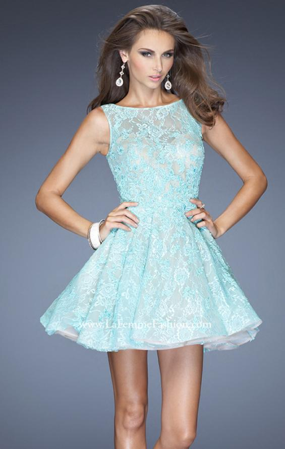 Picture of: Lace Cocktail Dress with High Boat Neck and Full Skirt in Blue, Style: 20244, Main Picture