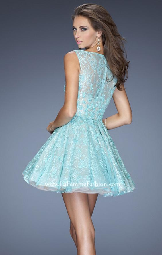 Picture of: Lace Cocktail Dress with High Boat Neck and Full Skirt in Blue, Style: 20244, Back Picture