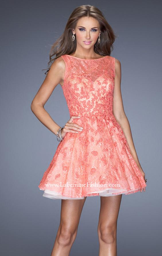 Picture of: Lace Cocktail Dress with High Boat Neck and Full Skirt in Orange, Style: 20244, Detail Picture 1