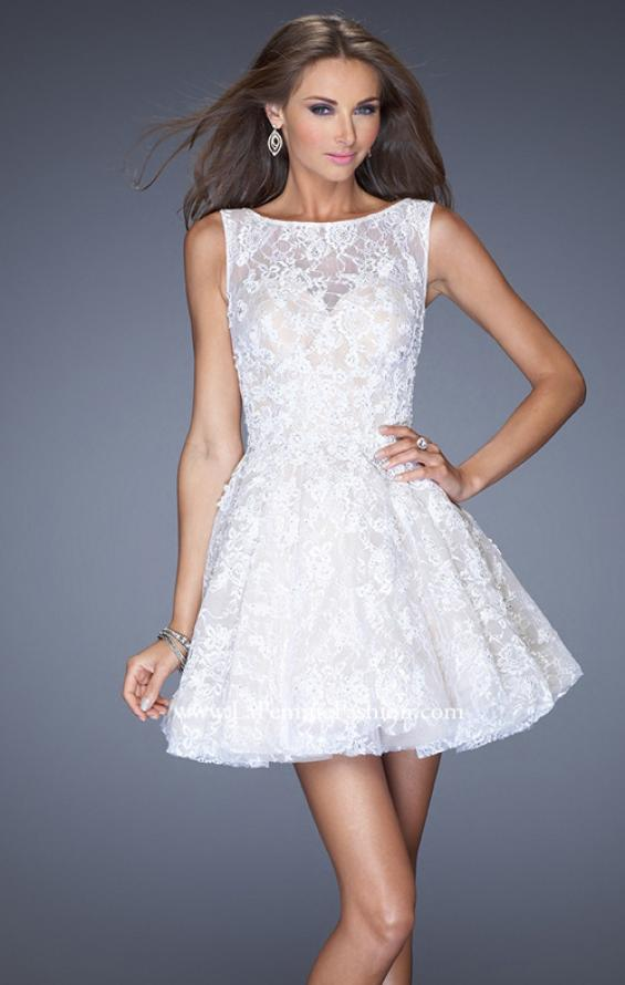 Picture of: Lace Cocktail Dress with High Boat Neck and Full Skirt in White, Style: 20244, Detail Picture 2