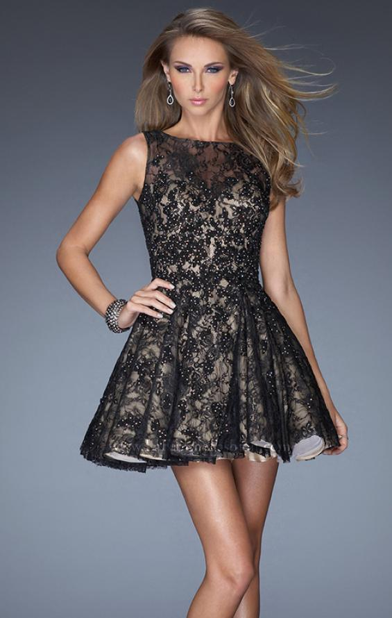 Picture of: Lace Cocktail Dress with High Boat Neck and Full Skirt in Black, Style: 20244, Detail Picture 3