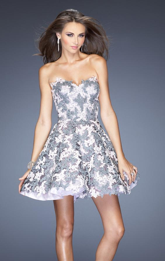 Picture of: Natural Waist Short Dress with Full Skirt and Lace Appliques in Silver, Style: 20246, Main Picture