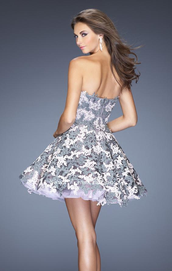 Picture of: Natural Waist Short Dress with Full Skirt and Lace Appliques in Silver, Style: 20246, Back Picture