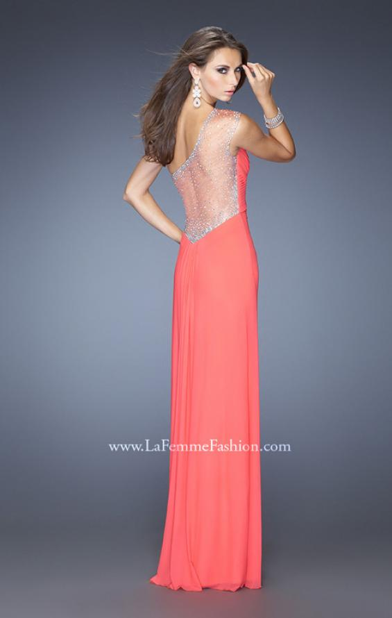 Picture of: Net Jersey Prom Dress with Criss Cross Ruched Bodice in Orange, Style: 20384, Main Picture