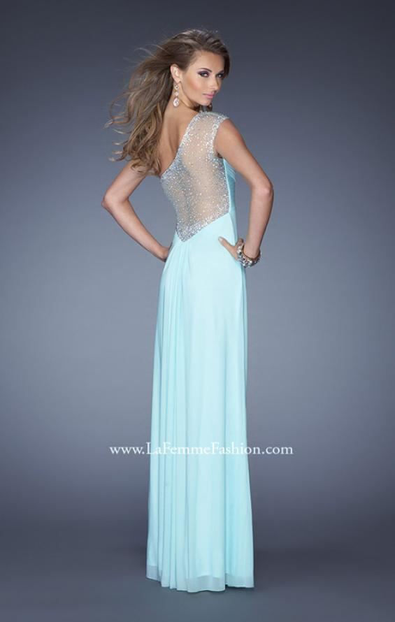 Picture of: Net Jersey Prom Dress with Criss Cross Ruched Bodice in Blue, Style: 20384, Back Picture