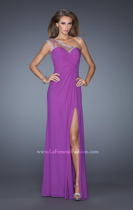Picture of: Net Jersey Prom Dress with Criss Cross Ruched Bodice in Purple, Style: 20384, Detail Picture 1