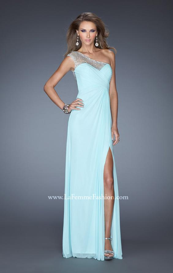 Picture of: Net Jersey Prom Dress with Criss Cross Ruched Bodice in Blue, Style: 20384, Detail Picture 2