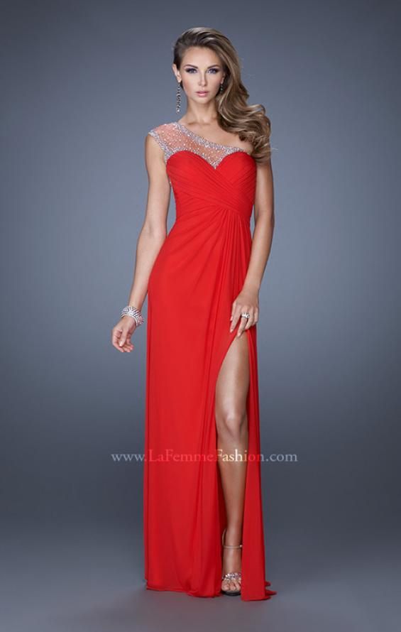 Picture of: Net Jersey Prom Dress with Criss Cross Ruched Bodice in Red, Style: 20384, Detail Picture 3