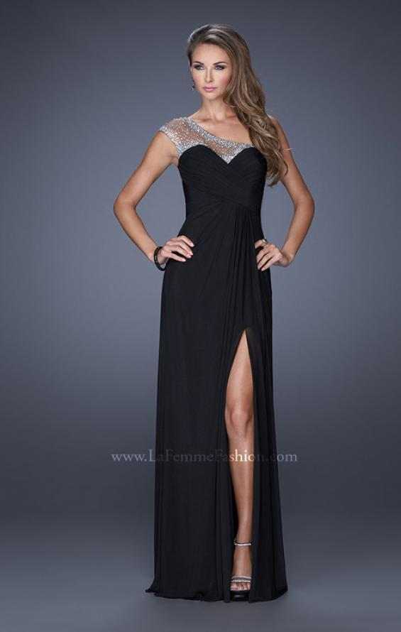 Picture of: Net Jersey Prom Dress with Criss Cross Ruched Bodice in Black, Style: 20384, Detail Picture 4