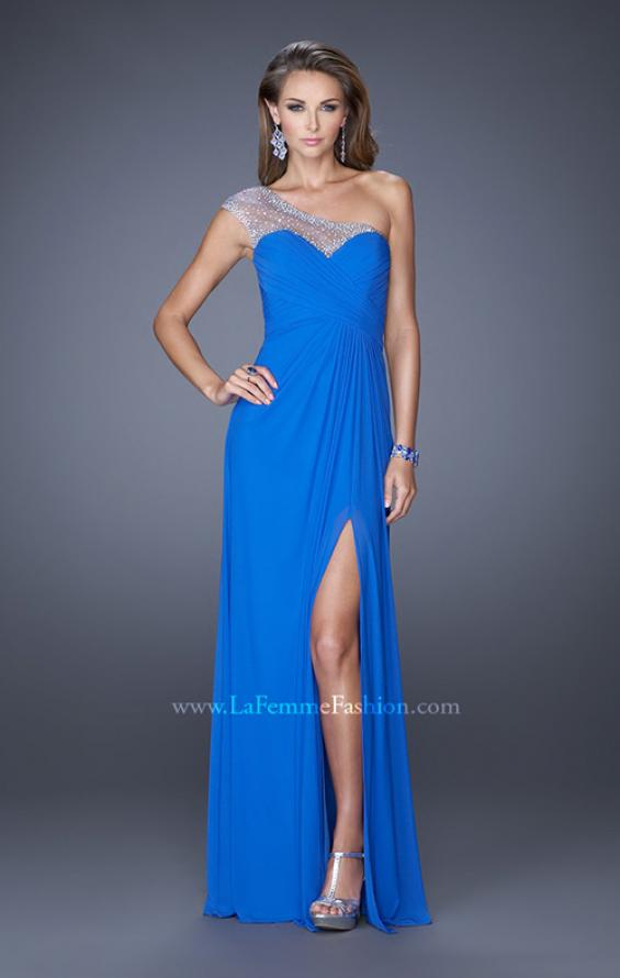 Picture of: Net Jersey Prom Dress with Criss Cross Ruched Bodice in Blue, Style: 20384, Detail Picture 5