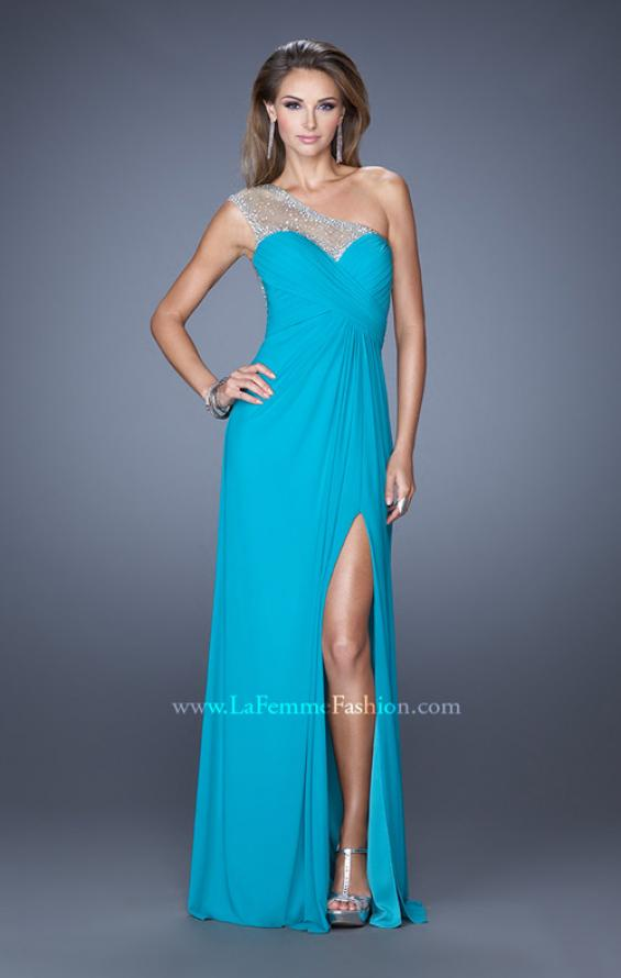 Picture of: Net Jersey Prom Dress with Criss Cross Ruched Bodice in Blue, Style: 20384, Detail Picture 6