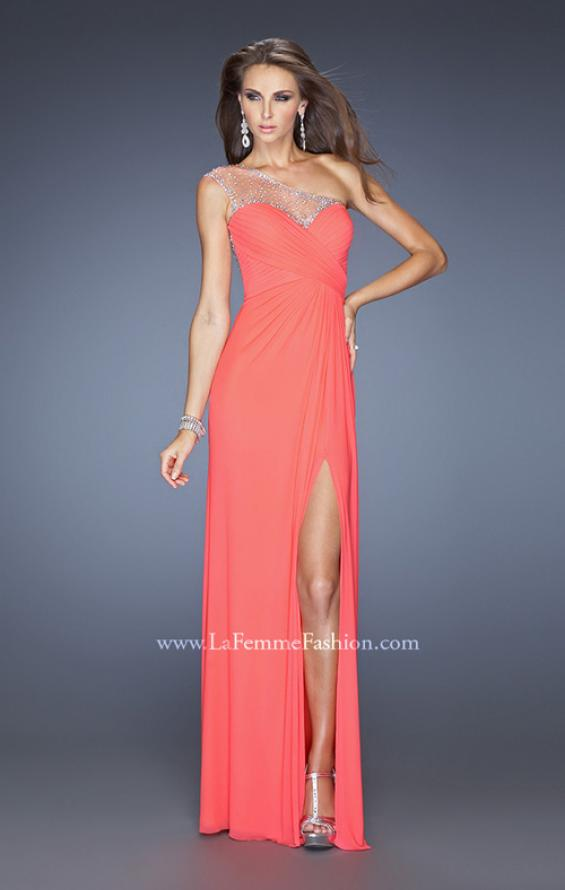 Picture of: Net Jersey Prom Dress with Criss Cross Ruched Bodice in Orange, Style: 20384, Detail Picture 7