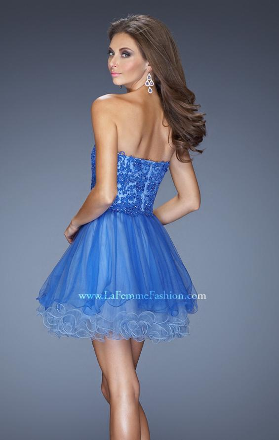Picture of: Short Strapless Tulle Dress with ruffled Hem and Lace, Style: 20386, Back Picture