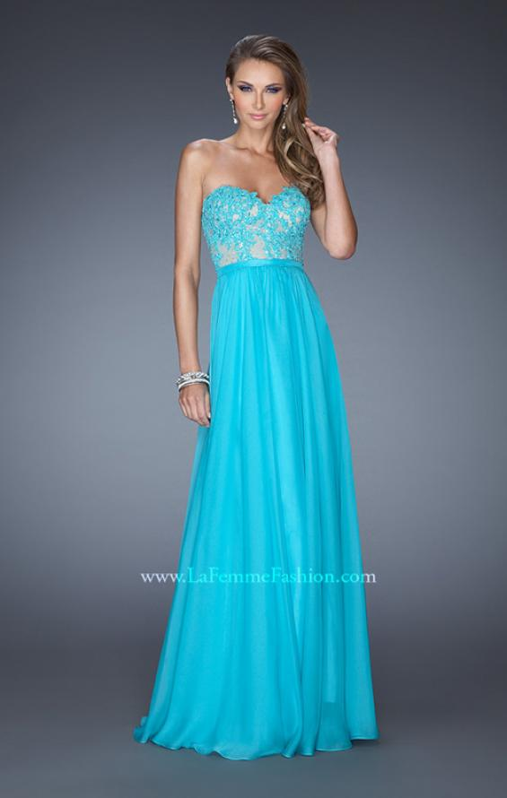 Picture of: Long Sweetheart Prom Dress with Lace and Matching Jewels, Style: 20393, Detail Picture 1