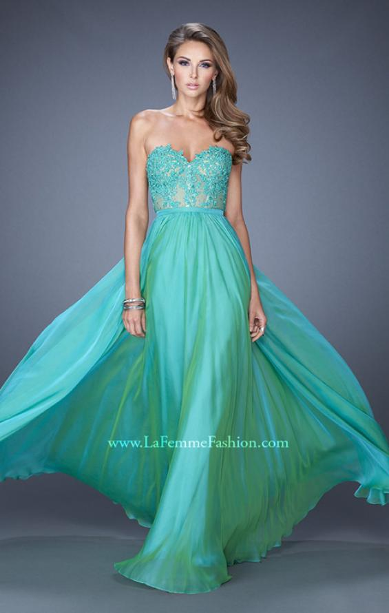 Picture of: Long Sweetheart Prom Dress with Lace and Matching Jewels, Style: 20393, Detail Picture 3