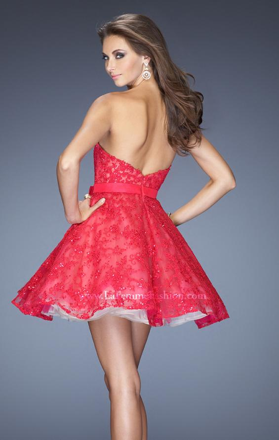Picture of: Lace Strapless Cocktail Dress with Lace Overlay in Pink, Style: 20398, Back Picture