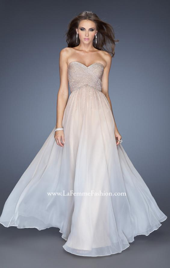 Picture of: Ombre Chiffon Prom Dress with Criss Cross Pleating in Nude, Style: 20404, Main Picture