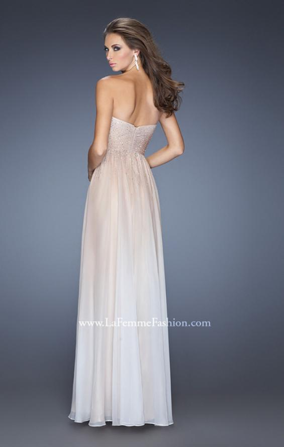 Picture of: Ombre Chiffon Prom Dress with Criss Cross Pleating in Nude, Style: 20404, Back Picture