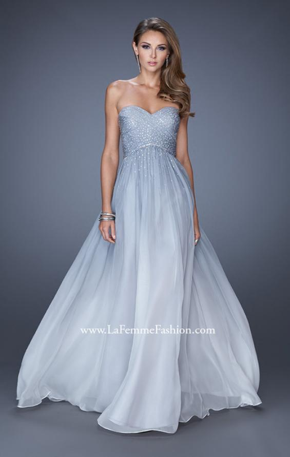 Picture of: Ombre Chiffon Prom Dress with Criss Cross Pleating in Blue, Style: 20404, Detail Picture 1