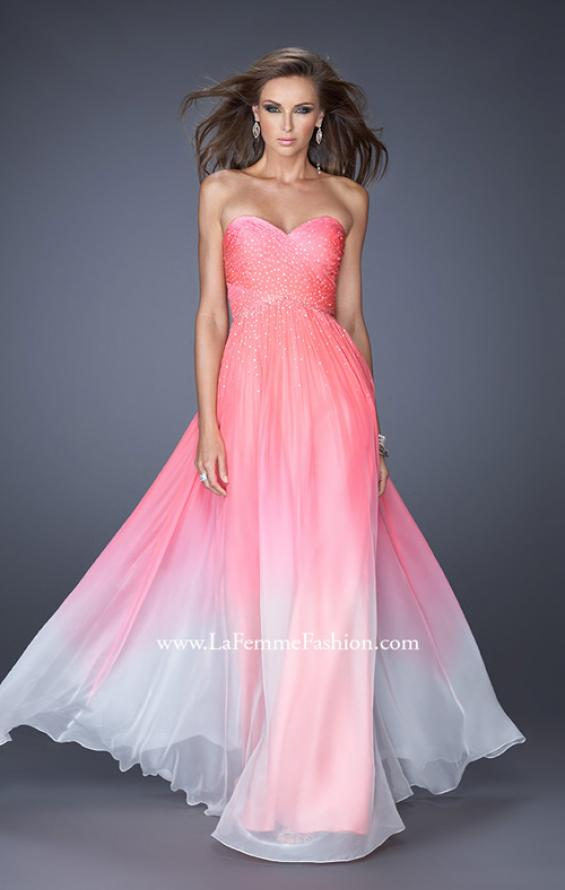 Picture of: Ombre Chiffon Prom Dress with Criss Cross Pleating in Pink, Style: 20404, Detail Picture 2