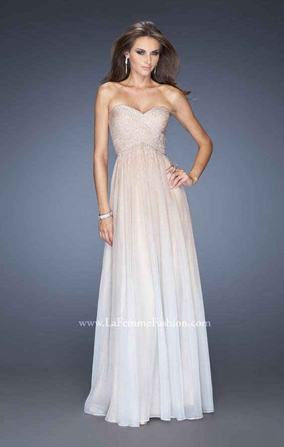 Picture of: Ombre Chiffon Prom Dress with Criss Cross Pleating in Nude, Style: 20404, Detail Picture 3