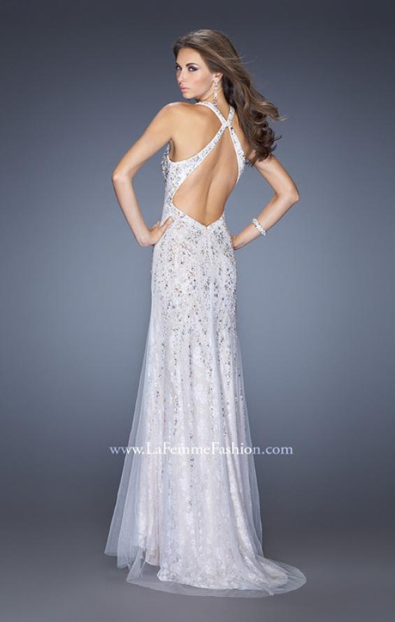 Picture of: V Neck Lace Prom Dress with Slit and Open Back in White, Style: 20421, Back Picture