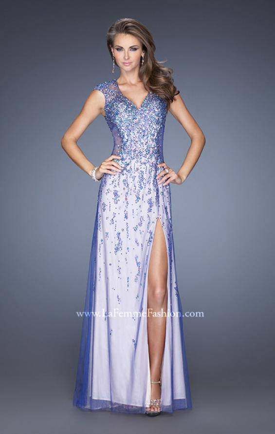 Picture of: Cap Sleeve Prom Dress with Tulle Overlay and Slit in Purple, Style: 20422, Main Picture