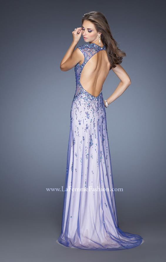 Picture of: Cap Sleeve Prom Dress with Tulle Overlay and Slit in Purple, Style: 20422, Back Picture