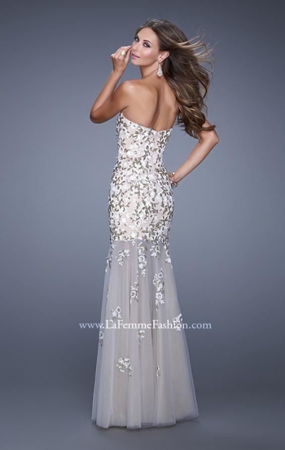 Picture of: Sweetheart Gown with Sheer Tulle Skirt and Lace Detail in White, Style: 20424, Back Picture