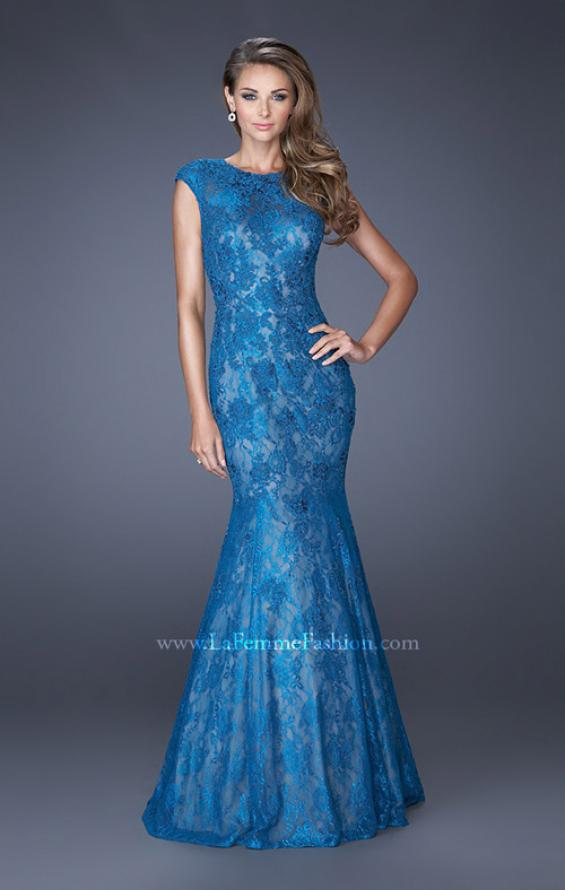 Picture of: Trumpet Style Gown with Sheer Lace Detailing, Style: 20427, Main Picture
