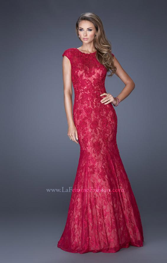 Picture of: Trumpet Style Gown with Sheer Lace Detailing, Style: 20427, Detail Picture 2