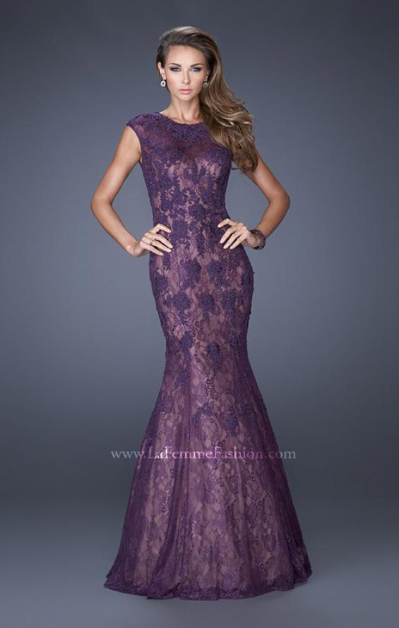 Picture of: Trumpet Style Gown with Sheer Lace Detailing, Style: 20427, Detail Picture 3