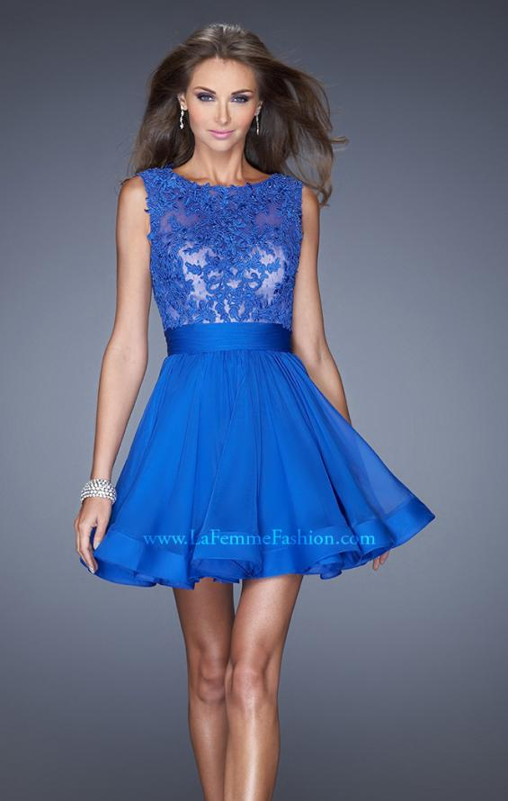 Picture of: Tulle Skirt Short Cocktail Dress with Jewel Details in Blue, Style: 20429, Main Picture