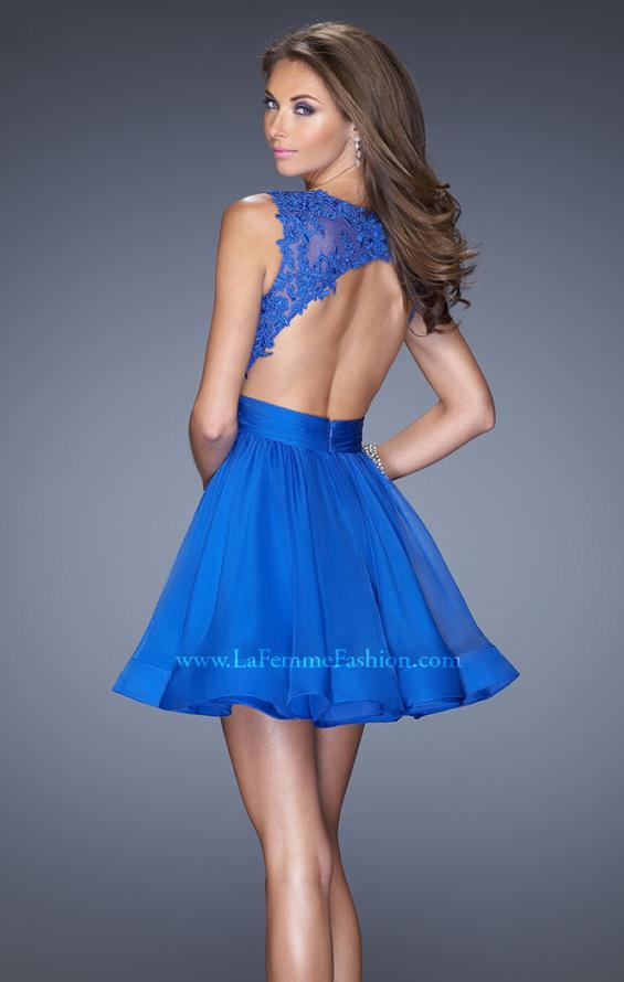 Picture of: Tulle Skirt Short Cocktail Dress with Jewel Details in Blue, Style: 20429, Back Picture
