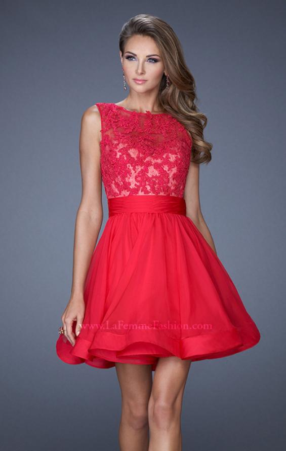 Picture of: Tulle Skirt Short Cocktail Dress with Jewel Details in Pink, Style: 20429, Detail Picture 1
