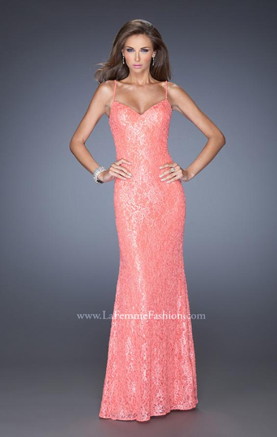 Picture of: Long Sequin and Lace Prom Dress with V Shaped Back in Orange, Style: 20431, Main Picture