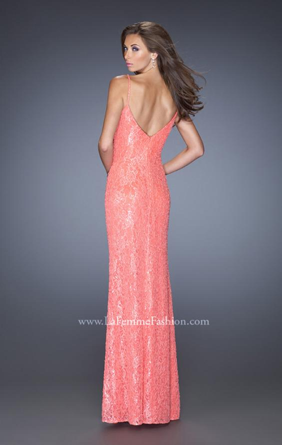 Picture of: Long Sequin and Lace Prom Dress with V Shaped Back in Orange, Style: 20431, Back Picture