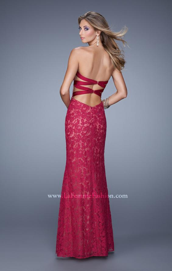 Picture of: Lace Sweetheart Neckline Gown with Criss Cross Back in Red, Style: 20440, Back Picture