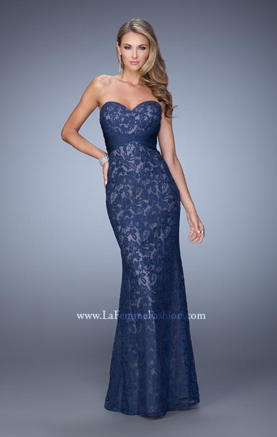 Picture of: Lace Sweetheart Neckline Gown with Criss Cross Back in Navy, Style: 20440, Detail Picture 3
