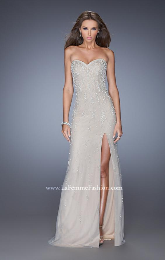Picture of: Long Prom Dress with Pearl and Rhinestone Detail in Nude, Style: 20442, Main Picture
