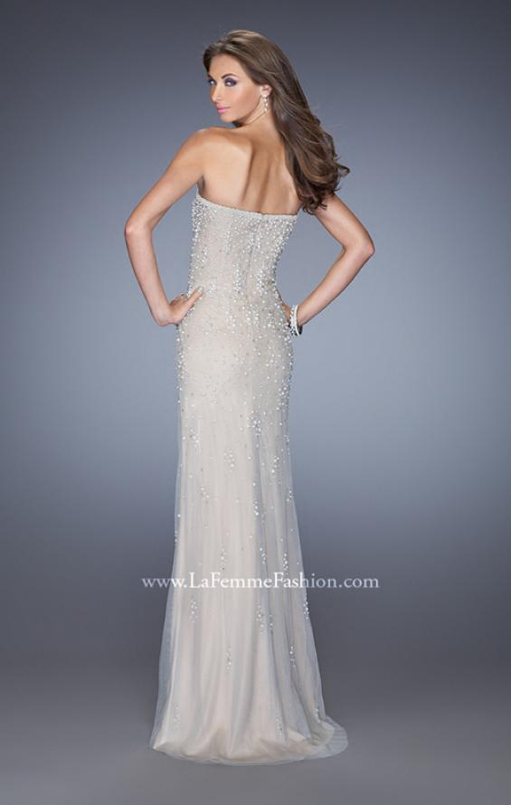 Picture of: Long Prom Dress with Pearl and Rhinestone Detail in Nude, Style: 20442, Back Picture