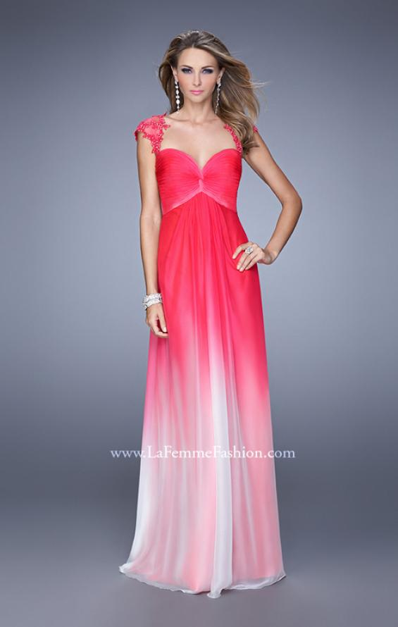 Picture of: Long Ombre Chiffon Gown with Ruched Empire Waist in Pink, Style: 20444, Detail Picture 1
