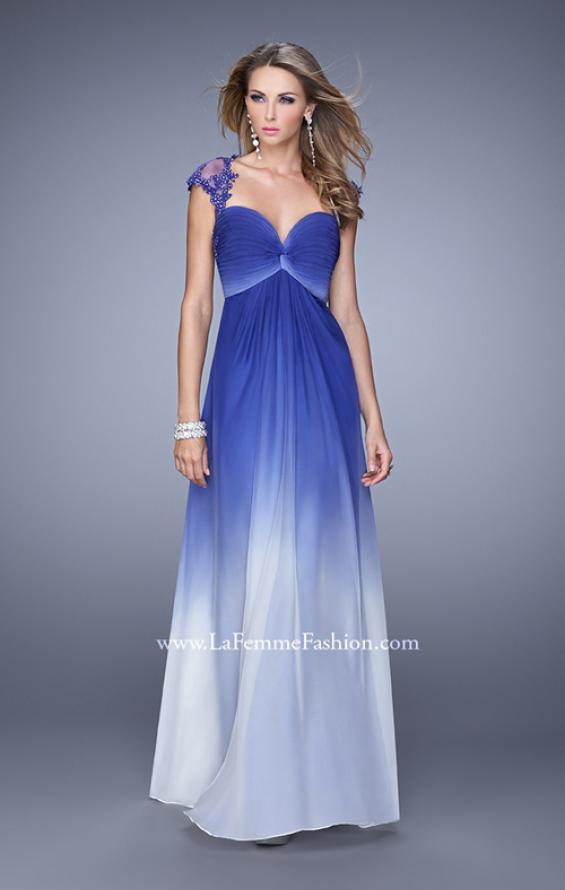 Picture of: Long Ombre Chiffon Gown with Ruched Empire Waist in Blue, Style: 20444, Detail Picture 2