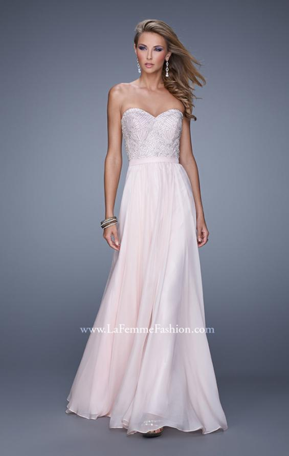 Picture of: Long Strapless Chiffon Prom Gown with Embellishments in Pink, Style: 20447, Main Picture