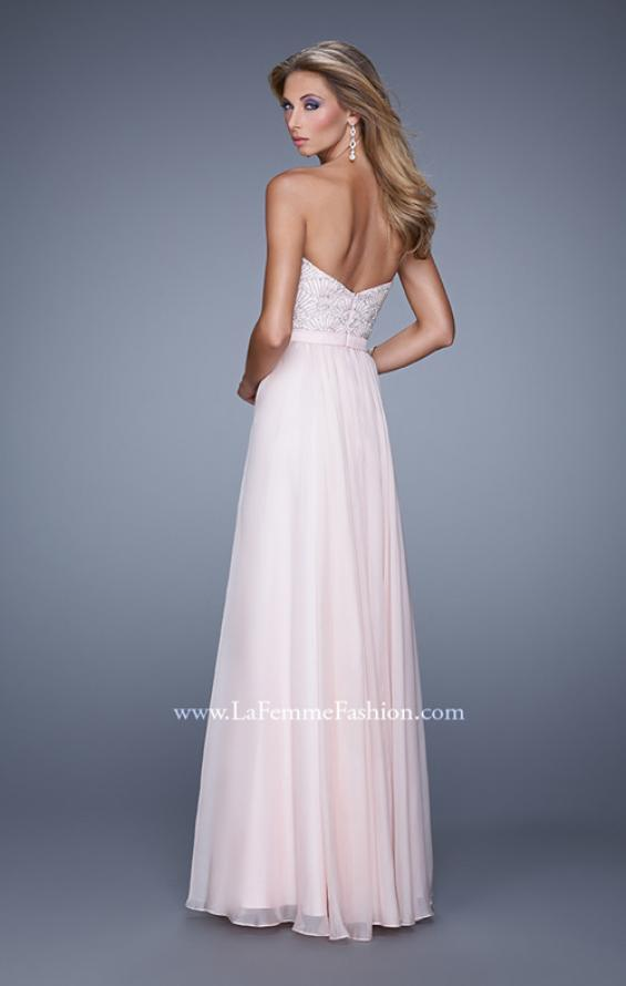 Picture of: Long Strapless Chiffon Prom Gown with Embellishments in Pink, Style: 20447, Back Picture