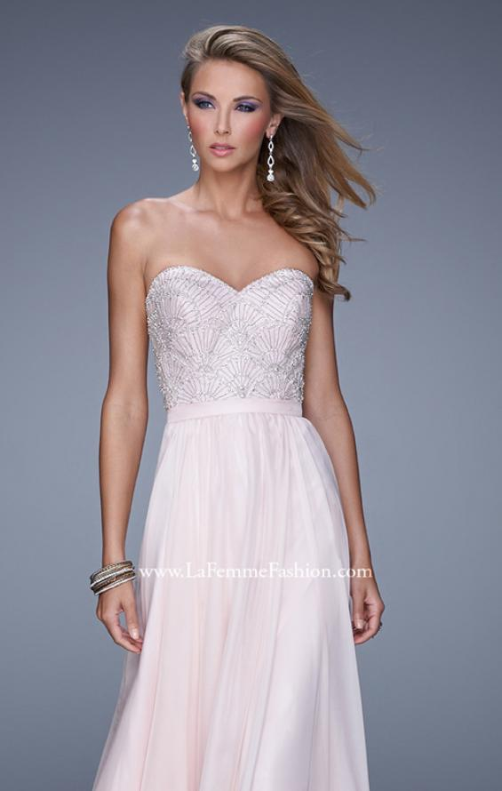 Picture of: Long Strapless Chiffon Prom Gown with Embellishments in Pink, Style: 20447, Detail Picture 1